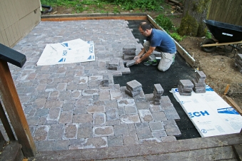 I had equal amounts of small, medium, and large pavers for my pattern, so I brought them out in 3 groups of twelve each time, to be sure I was keeping the proportions right.