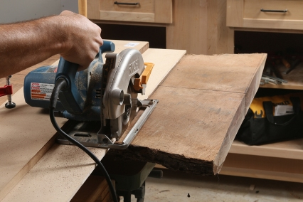 The saw guide lets you crosscut big slabs in a way that a tablesaw can't.